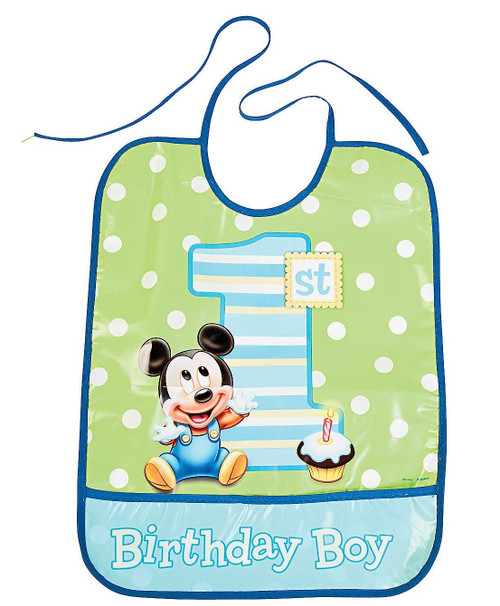 Mickey First Birthday Bib