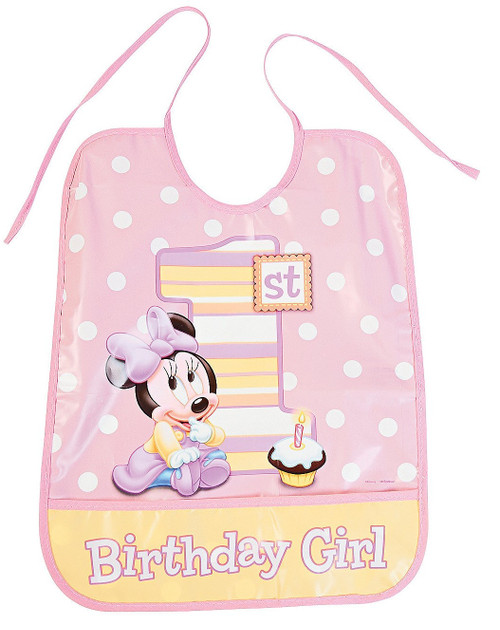 Minnie First Birthday Bib