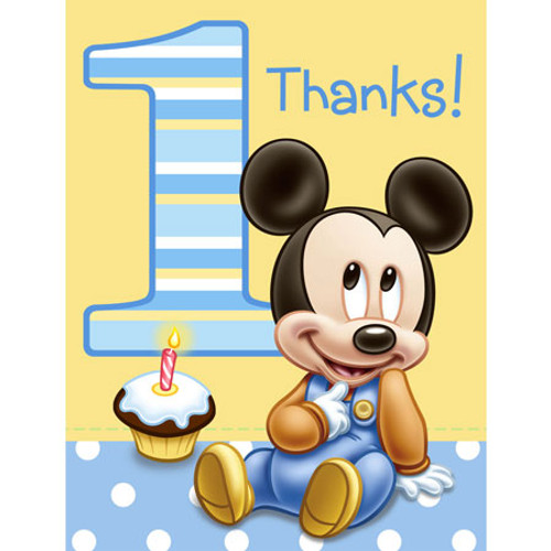Mickey 1st Birthday Thank yous