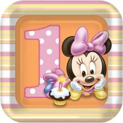 Minnie 1st Birthday Dessert Plates