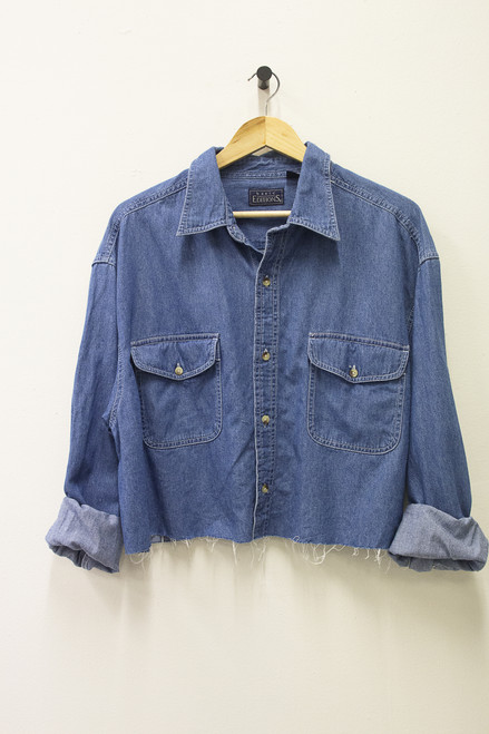 BASIC EDITIONS REWORKED CROPPED DENIM SHIRT