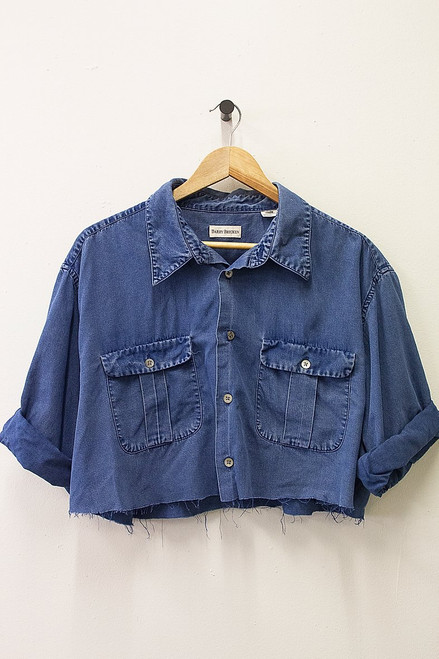 BARRY BRICKEN REWORKED CROPPED DENIM SHIRT