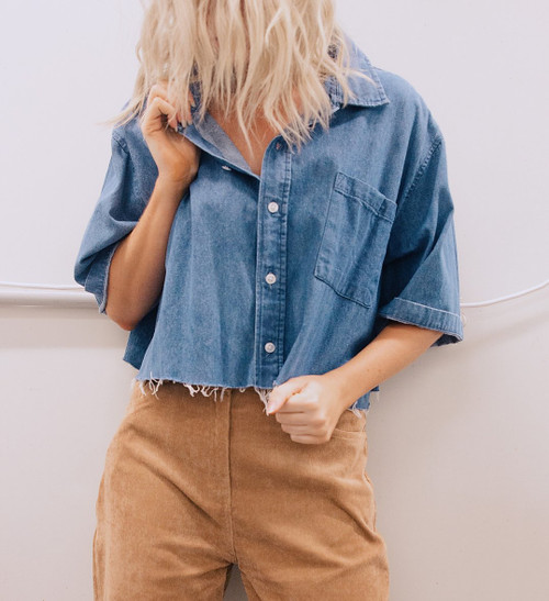 OPEN TRAILS REWORKED CROPPED DENIM SHIRT