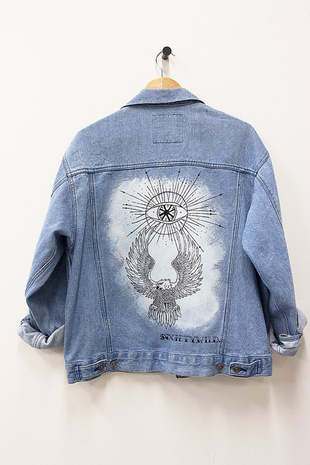 HAND PAINTED TODAY'S NEWS DENIM JACKET
