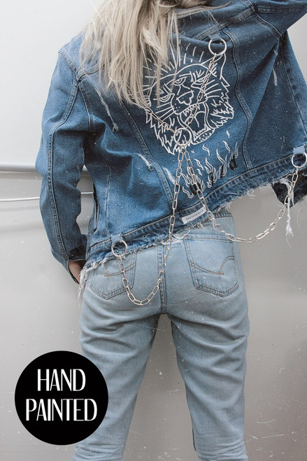 REVIEW DISTRESSED HAND PAINTED DENIM JACKET