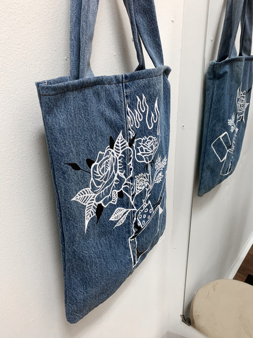 HAND PAINTED LEVI DENIM TOTE