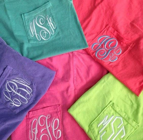 Comfort Color Pocket Tee with Embroidered Monogram