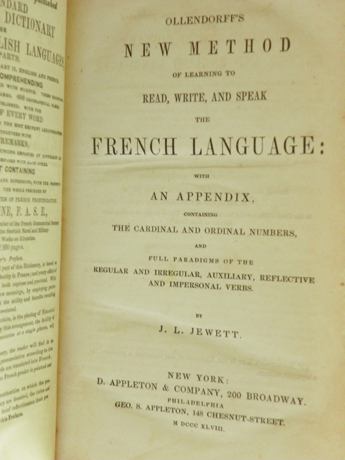 Ollendorff's New Method of Learning to Read, Write, and Speak French … 1848
