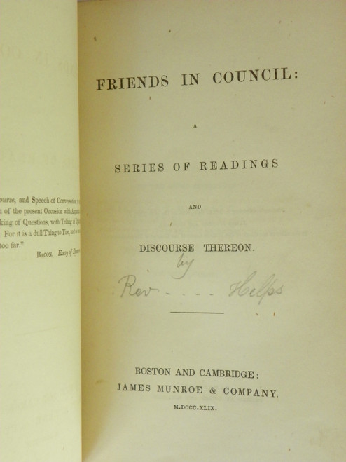 Friends in Council : A Series of Readings and Discourse Thereon 1849 FAIR Arthur Helps