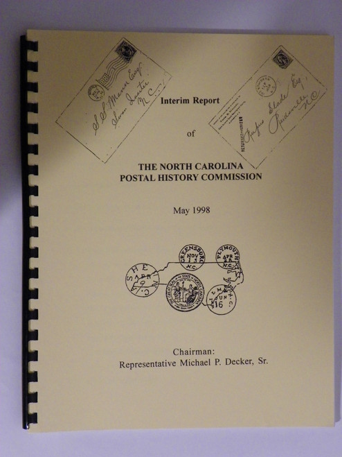 (Postmark history, philatelic) Interim Report of The North Carolina Postal History Commission
