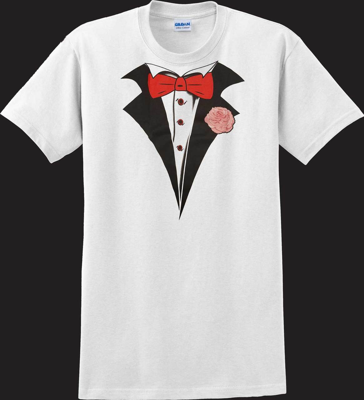 ever popular low cost hot sale online Classic White Tuxedo T-shirt with Carnation (Sale/Closeout)