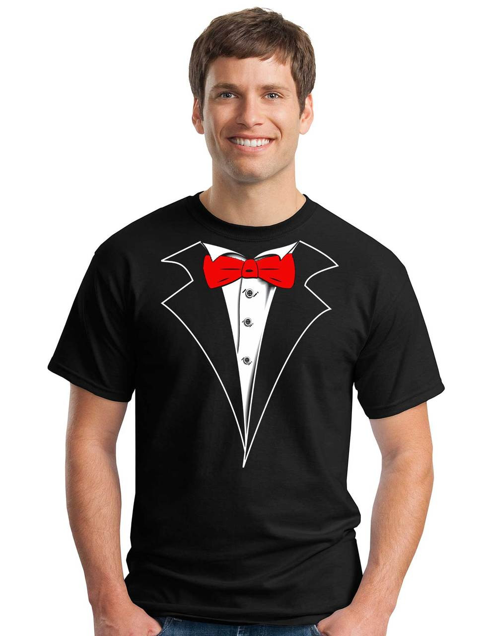 1660b17a7 Tuxedo T-shirt with Red Bow Tie on Black No Carnation | Shop Men's Black  Tuxedo Tees