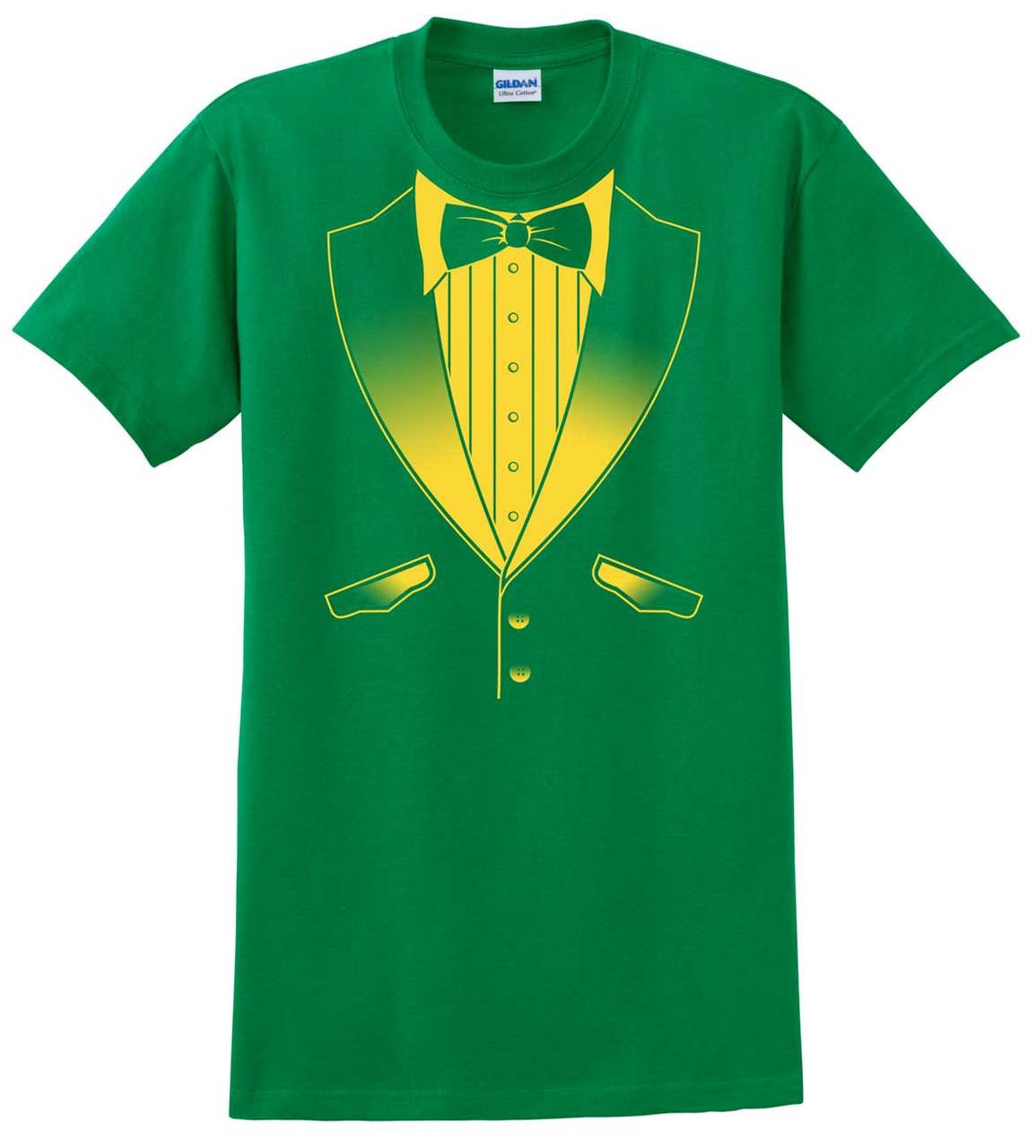 Tuxedo T Shirt In School Colors Kelly Green And Gold Tuxedo T