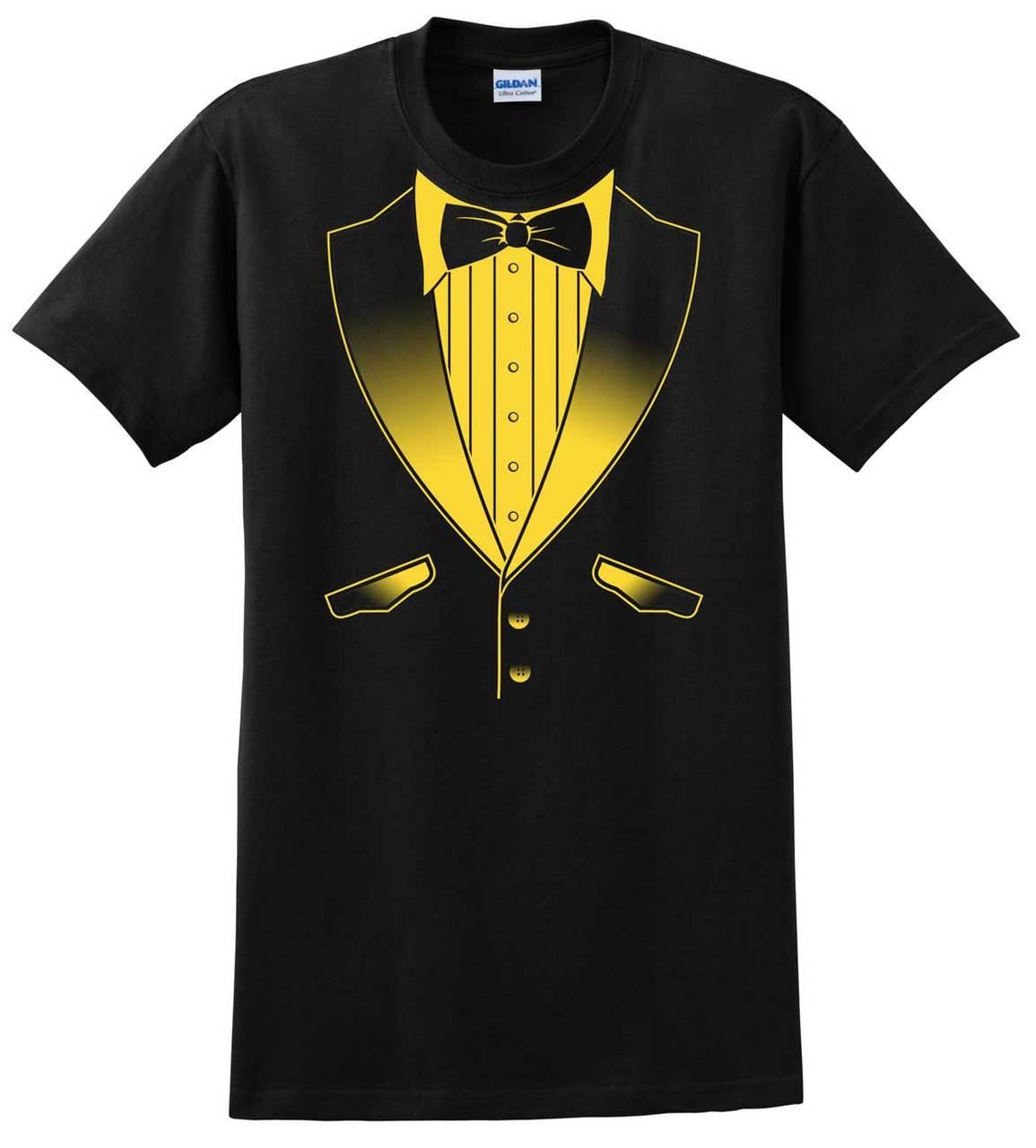 Tuxedo T Shirt In School Colors Black And Gold Tuxedo T Shirts