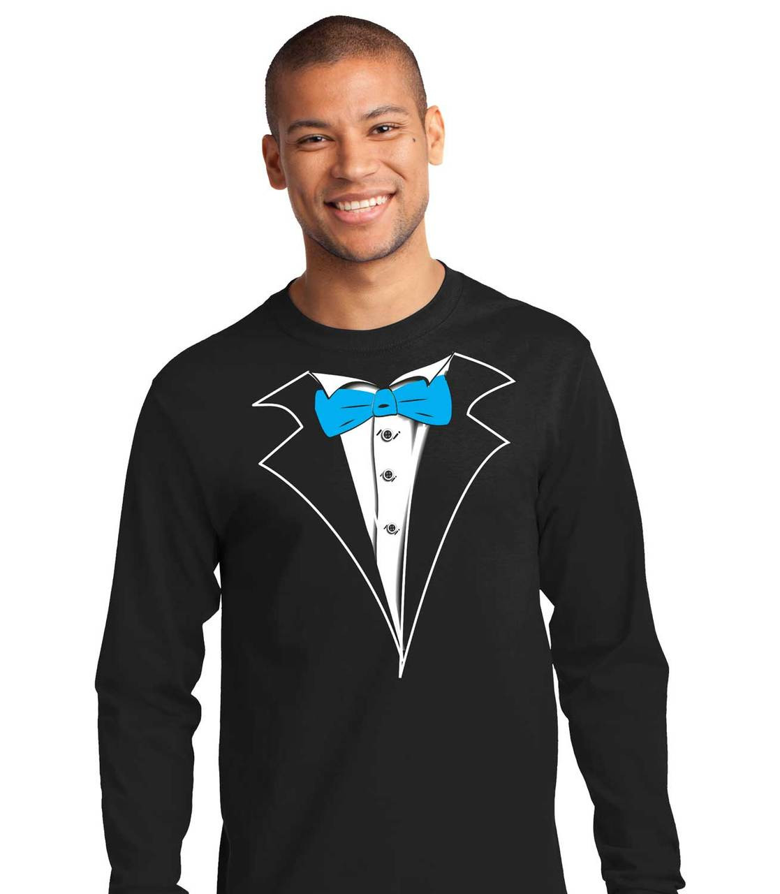 99996230f6e3 Tuxedo T-shirt Long Sleeve in Black with red tie,no carnation | Shop Men's  Black Tuxedo Tees