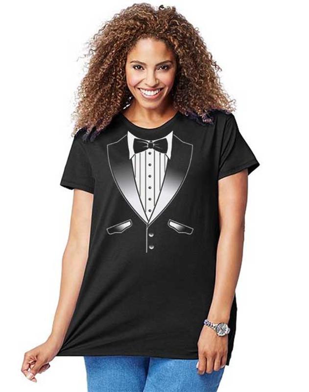 Ladies Original Tuxedo T-Shirt Plus Size - Tuxedo T-Shirts by Art2Shirt