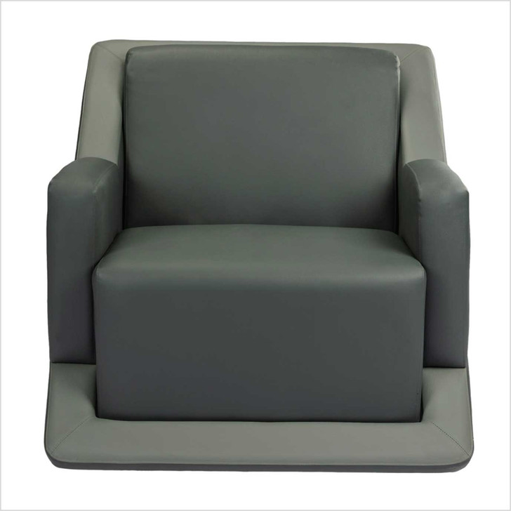 stage large gray leather sofa front