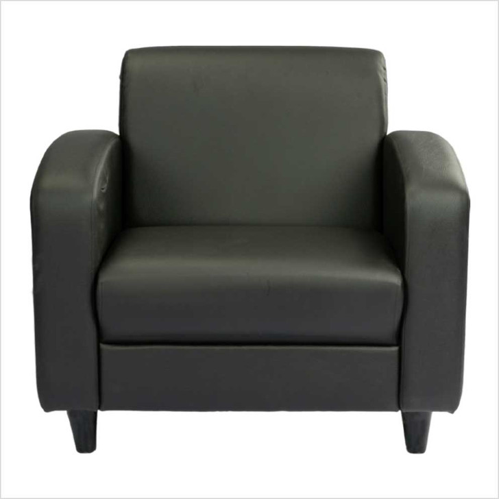 black leather sofa 1 seat front