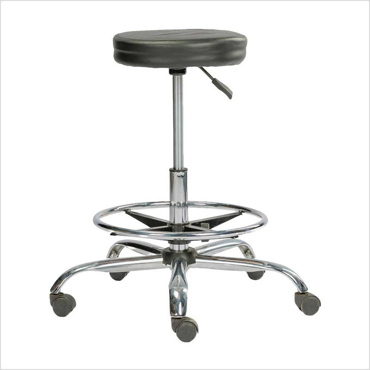 Black Leather Stool Chair with wheel