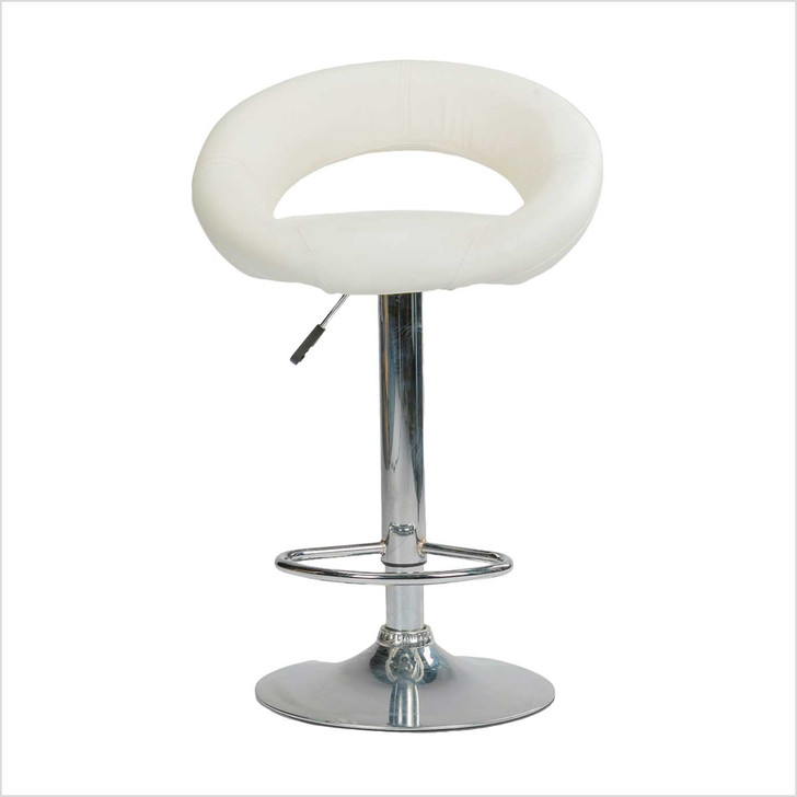 Chair Stool - White- Leather front side view