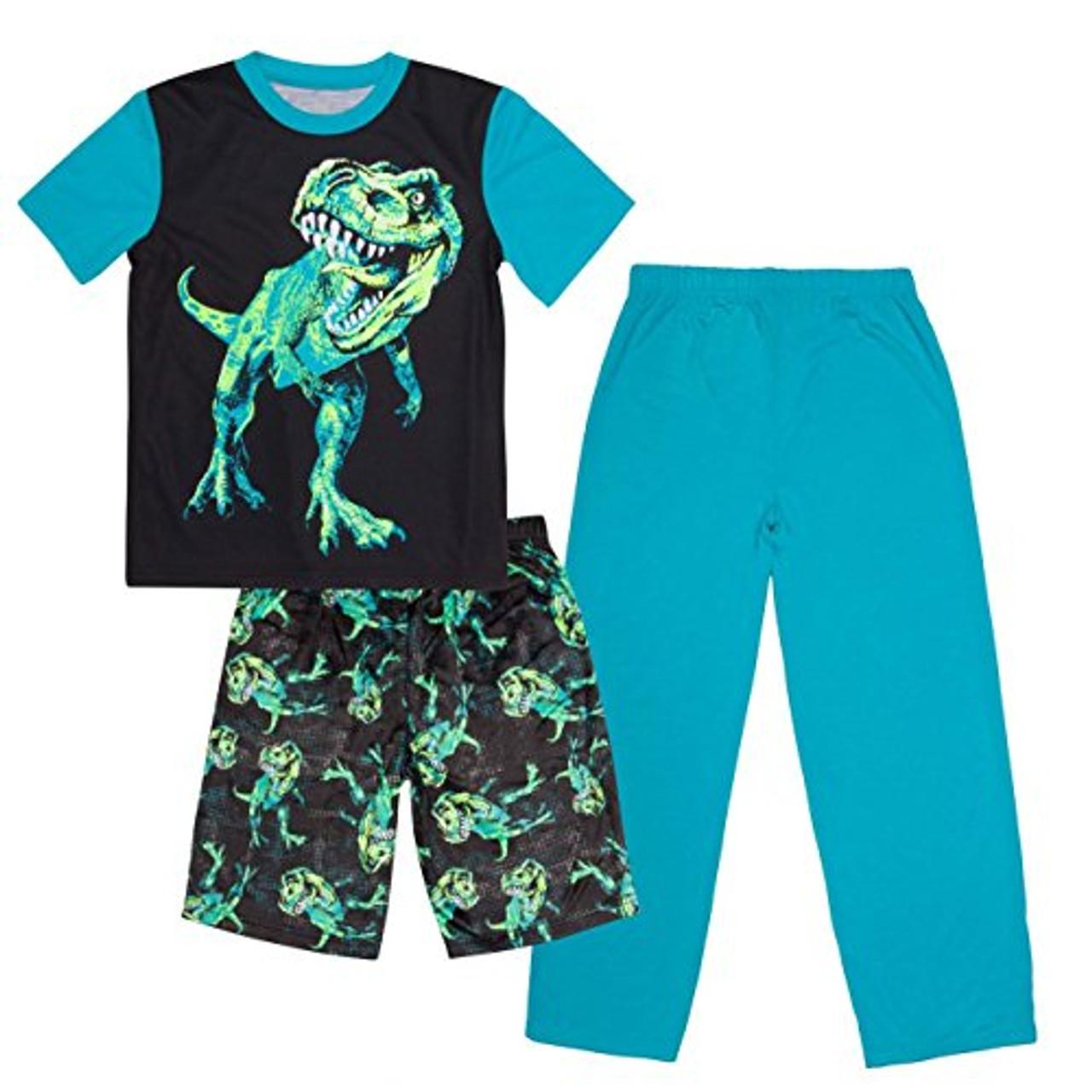 Boy/'s T-Rex Pajama Shorts Set with Toy Dino Tyrannosaurus Dinosaur