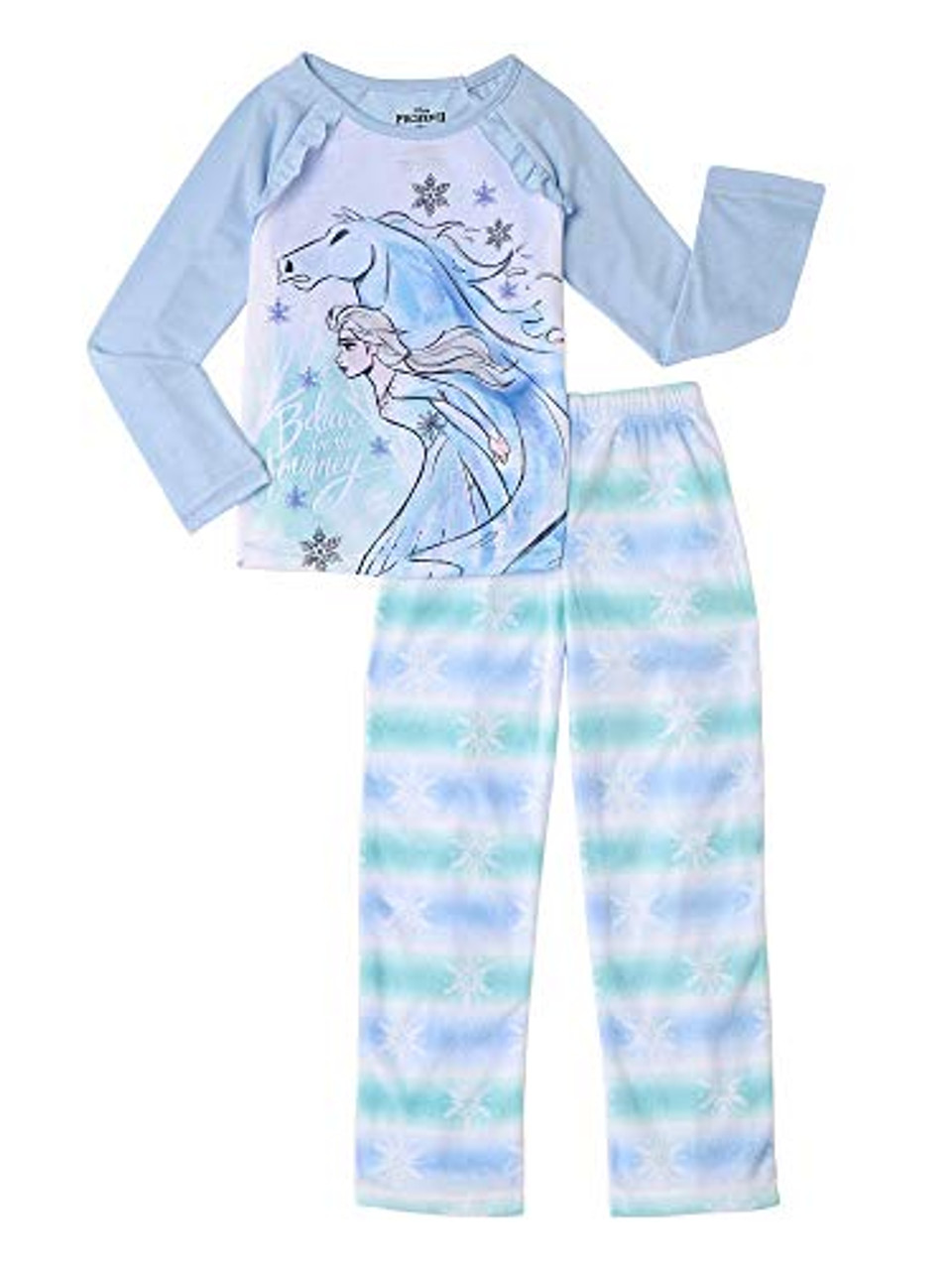 Girls Kids Disney Frozen Anna Elsa Pyjamas Nightwear 2 pcs Set