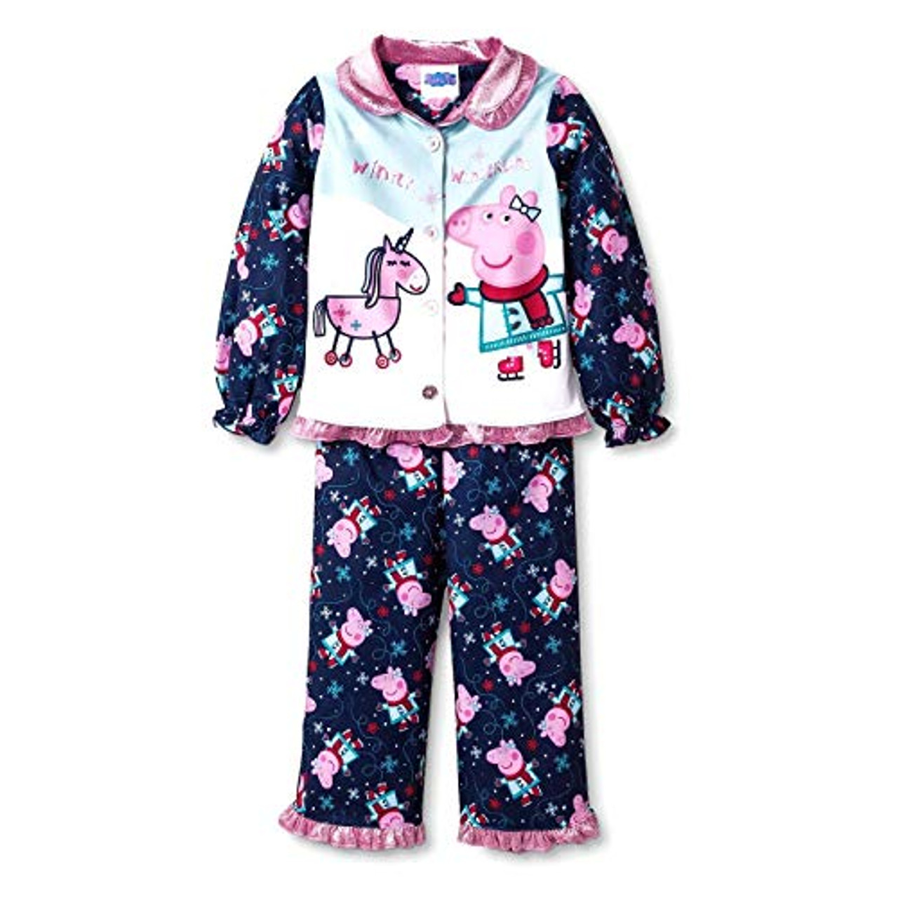 Peppa Pig Pink Holiday Christmas Flannel Granny Nightgown Gown