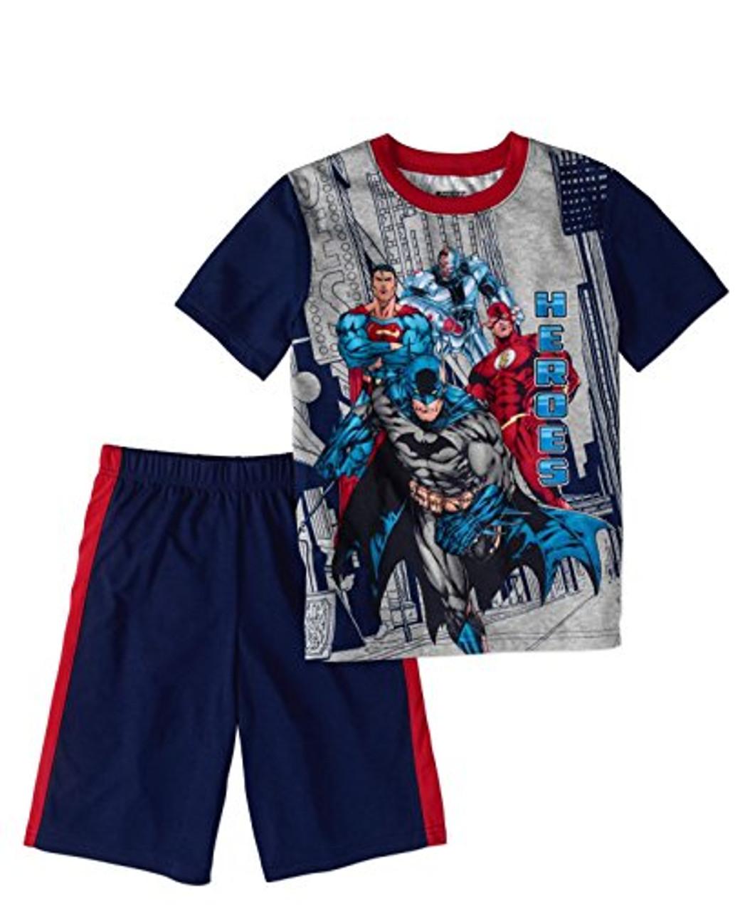 Justice League Boys 2-Piece Pajama Short Set Size 4//5 6//7 8 10//12