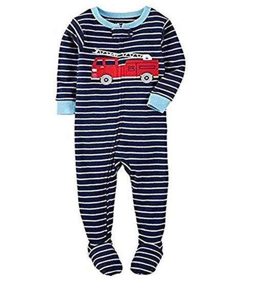 CARTER/'S CHILD OF MINE Boys Footed Sleeper Fire Truck  Size Newborn  NEW