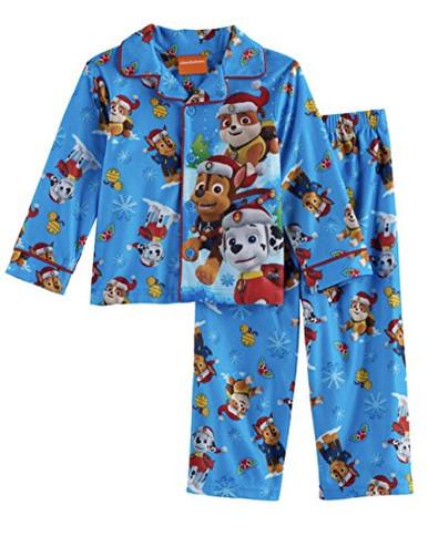 Paw Patrol Christmas Holiday Toddler Boys Blue Flannel Sleepwear Pajama Set