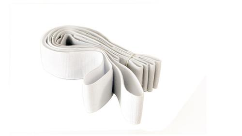 White Hook & Loop straps. Loop straps with 5cm hook end 2 x approx. 110cm long 1 x 75cm long 1 x 45cm long