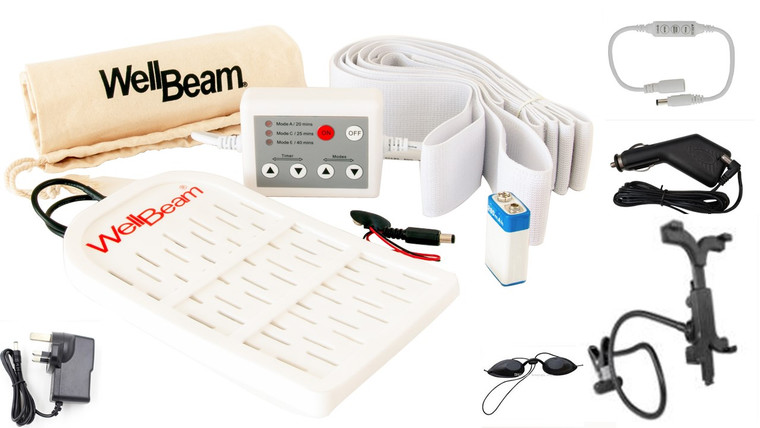 WellBeam Patch Red Beauty device with all accessories. Car Charger for travelling Battery Clip and Controller for full mobility Custom Controller for medical frequencies and timers Hook & Loop straps to secure to any body part Holder & Goggles for facial treatments, and Lamp conversion