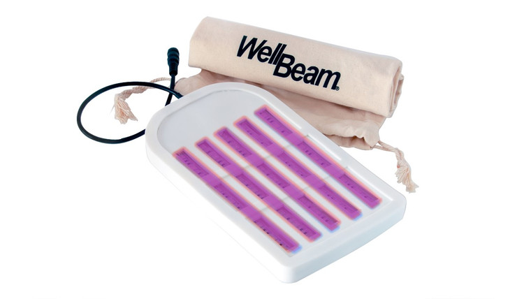 WellBeam Purple Patch is a combination of Red and Blue diodes. When illuminated the mixture of these two colours appears purple. This is not an Ultraviolet device, however it does produce a purple glow. If you're experiencing any form of skin condition or infection, this is the device for you. It is not designed to offer pain relief in joints as without the Near-Infrared LEDs it cannot be absorbed deep enough, however if skin is the organ you wish to treat, the Purple Patch contain the correct light spectrums.  This device contains alternate Red & Blue LEDs. * Blue light does contain micro traces of UVA and UVB rays, however much lower than the sun. included: WellBeam Patch, AC Adaptor, Custom Controller packed in a drawstring bag. We recommend the goggles also be purchased to protect the eyes from the blue light.