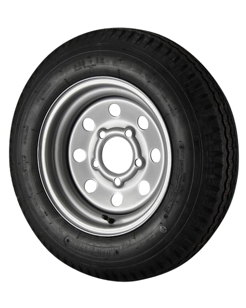 5.30X12 Loadstar Trailer Tire LRD on 5 Bolt Silver Mod Wheel - Heavy Duty