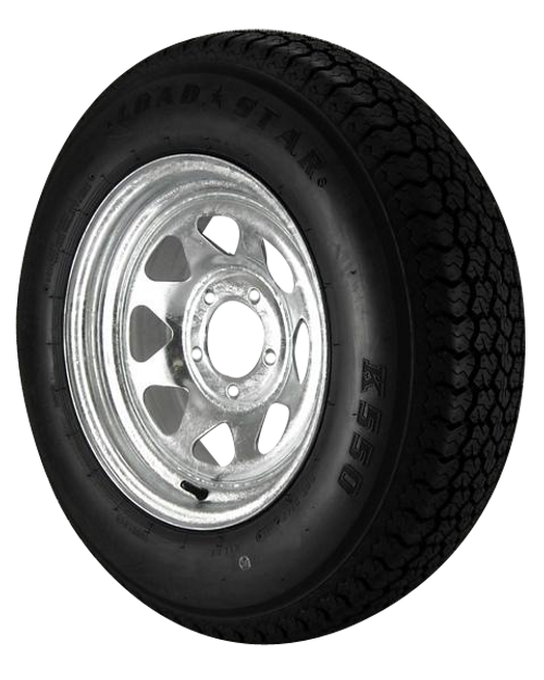 ST205/75D14 Loadstar Trailer Tire LRC on 5 Bolt Galvanized Spoke Wheel