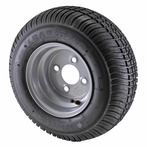 16.5X6.50-8 Loadstar Trailer Tire LRC on 4 Bolt Silver Wheel