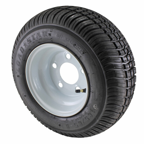 16.5X6.50-8 Loadstar Trailer Tire LRC on 5 Bolt White Wheel