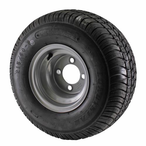18.5X8.5-8 Loadstar Trailer Tire LRC on 4 Bolt Silver Wheel
