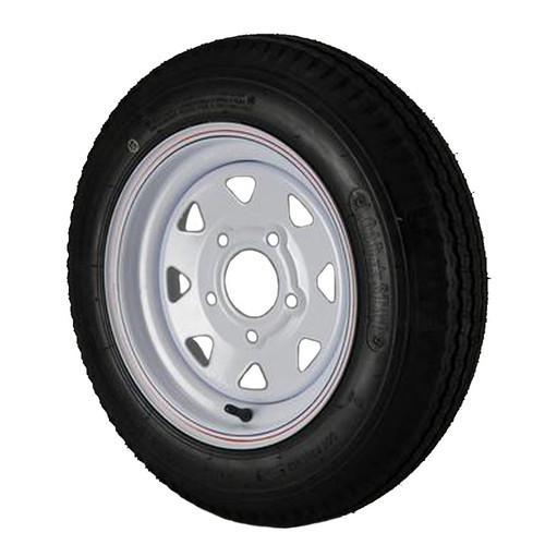 4.80X12 Loadstar Trailer Tire LRC on 5 Bolt White Spoke Wheel