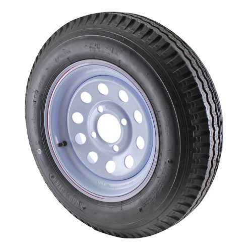 5.30X12 Loadstar Trailer Tire LRC on 4 Bolt White Mod Wheel