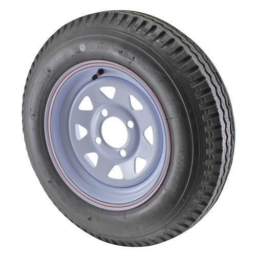 5.30X12 Loadstar Trailer Tire LRC on 4 Bolt White Spoke Wheel