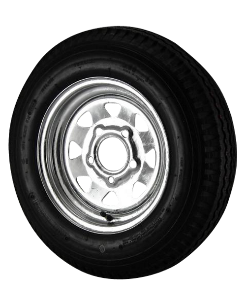 5.30X12 Loadstar Trailer Tire LRC on 5 Bolt Galvanized Spoke Wheel