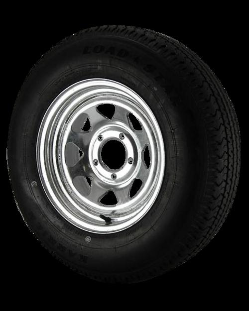 ST205/75R14 Loadstar Trailer Tire LRC on 5 Bolt Galvanized Spoke Wheel