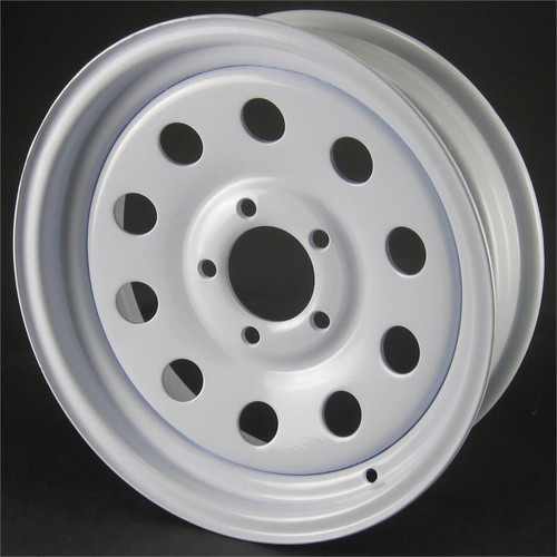 "15X5 5-Lug on 4.5"" White Mod Trailer Wheel - No Pinstripe"