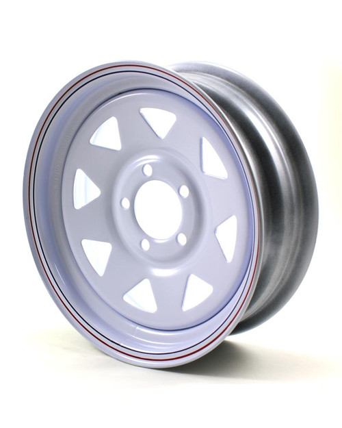 "15X5 5-Lug on 4.5"" White Spoke Trailer Wheel - SR"