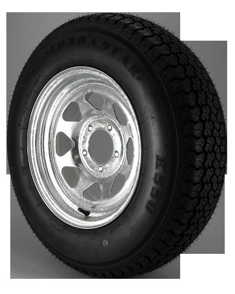 ST205/75D14 Loadstar Trailer Tire LRC on 5 Bolt Galvanized Spoke Wheel
