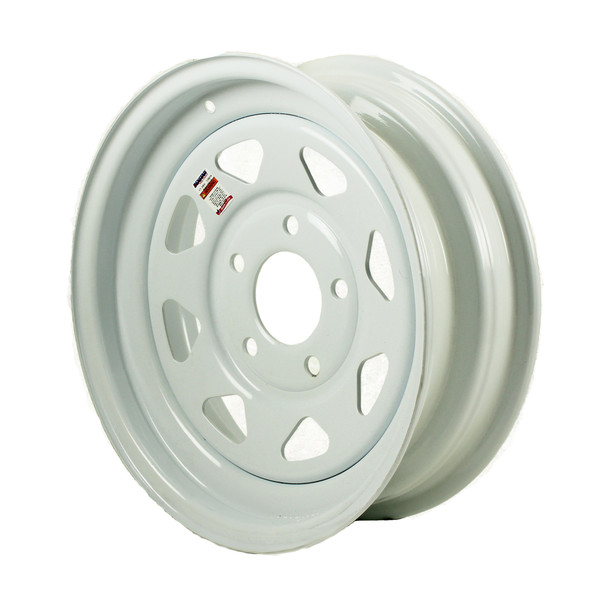 "15x5 5 Bolt on 5"" White Spoke Trailer Wheel - w/o Pinstripes"