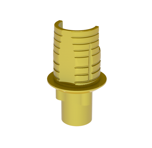 Titanium base for hybrid and screw-retained restorations. Angled screw channel window. Gold hue. Engaging. Screw included.