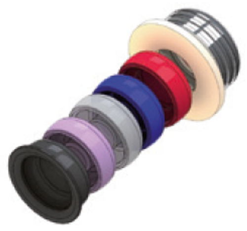 From top to bottom. Metal insert set, spacer ring, red angled retention (1.5 lbs), blue retention (1.5 lbs), white retention (5 lbs), rose retention (3 lbs), black retention (lab).