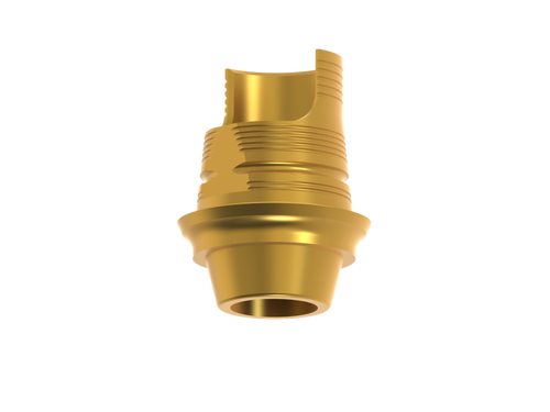 Titanium base for hybrid and screw-retained restorations. Angled screw channel window. Gold hue. Non-Engaging. Screw and hygienic handler included.